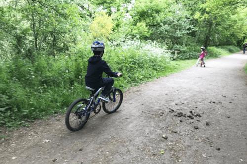 Children cycle the Salt Line