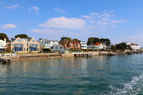 Homes in Sandbanks, view from Poole Harbour