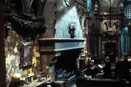 The Slytherin common room in the Harry Potter movies