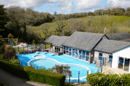 Swimmng pool and play area at The Valley, Truro, Cornwall