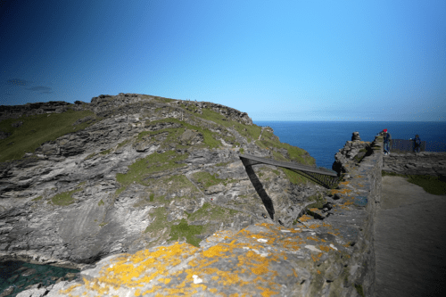 Steep drops and the bridge at Tintagel Castle