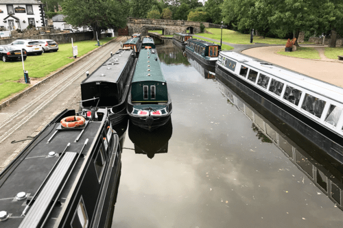 Canal boats at Trevor Basin