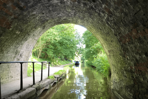 Coming out from a tunnel on the Llangollen Canal